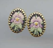 SALE Elegant  flower stitched Earrings