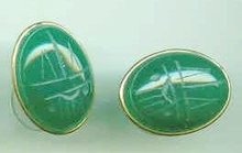 SALE Stone Scarab Earrings large 14 Kt