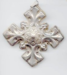 SALE Large Sterling Cross  Signed Reed and