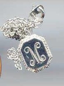 SALE Pewter necklace with the letter M