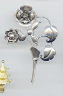 SALE Large Sterling flower Pin