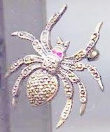 SALE Sterling Silver SPIDER with ruby eyes