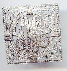 SALE Sterling and Marcasite Vintage name Pin
