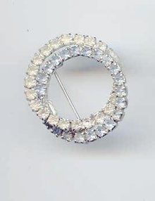 SALE Circle Pin  Rhinestone White and blue