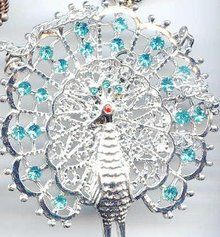 Brilliant Peacock Necklace, Rhinestone