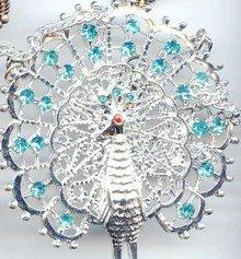 Brilliant Peacock Necklace, Rhinestone