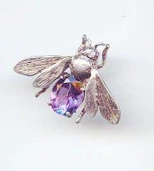 SALE Sterling and Amethyst Bee Pin signed MFA