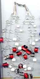 SALE .Exceptional Lucite Necklace red,black,