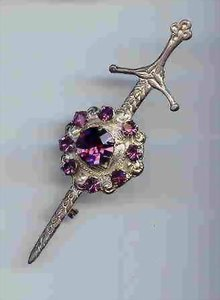 SALE Sword Pin with Amethyst Color Rhinestone