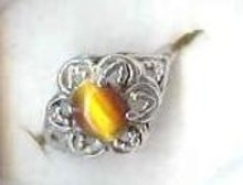 SALE Sterling Signed eps  Tiger Eye Ring