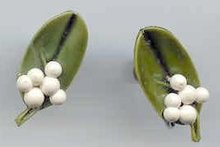 SALE Ceramic Leaf and white Berry Earrings