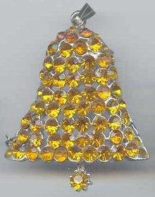 SALE Bells Bells. Amber Rhinestone Bell Pin +Pendant