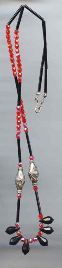SALE Long Glass Necklace Black and red
