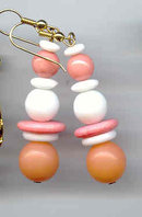 Lucite Fun Earrings Long White and Pinky