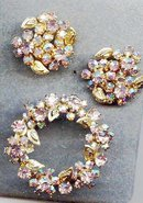 SALE Lovely Pink Rhinestone Circle Pin and