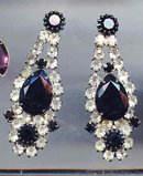 SALE Long and lush Black and White Rhinestone