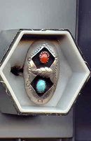 SALE Navajo Sterling 2 stone ring