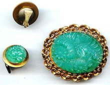 SALE Molded Glass Pin and earrings.