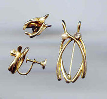 SALE Good Luck Wishbones.Pin and Earrings.