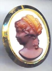 SALE Cameo Pin   Milk glass