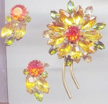 SALE Fantastic Yellow and Orange Brooch and