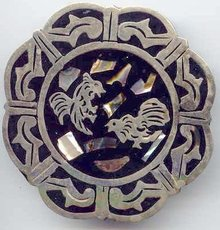 SALE Gigantic Silver and enameled Mexican Pin