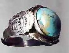 SALE Indian with snake with a art glass stone,sterling