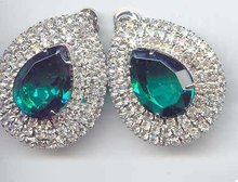 SALE Fabulous Emerald and Clear gigantic Rhinestone Earrings