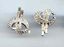 Elegant Rhinestones earrings and Pin