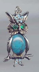 SALE Owl Pendant  Green Eyes