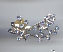 SALE Light Blue Rhinestone Pin
