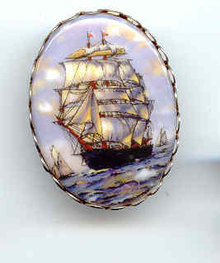SALE Sailing Ship on Porcelain