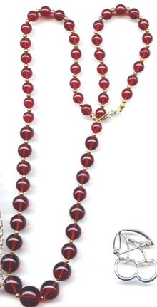 SALE  Cherry  Amber color Lucite necklace
