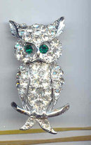 SALE Rhinestone Owl with Green Eyes