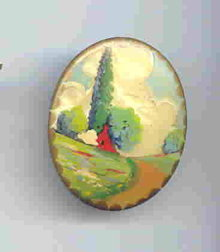 SALE Handpainted Scene  vintage pin