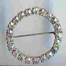 SALE Round Aurora Borealis Circle Pin