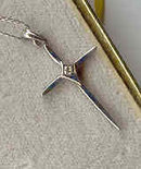 SALE 14 kt White  Gold Cross with Diamond