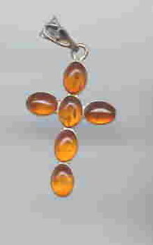 SALE Amber Cross. Splendid Sterling Silver