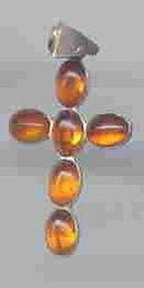 SALE Amber Cross. Splendid Sterling Silver