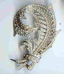 SALE Elegant Feather  Rhinestone Pin   Huge