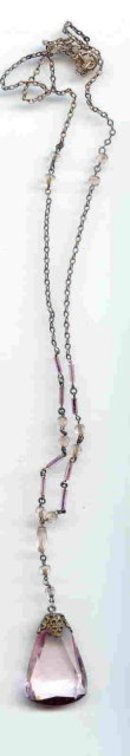 SALE Vintage Long Pink Stone Crystal Necklace