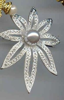 SALE Rhinestone and Simulated Pearl Pin by Napier