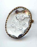 SALE Crystal Imprinted with a Rose. Brooch or Pendant