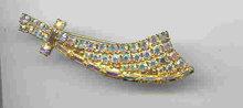 SALE Magnificent Sword Pin        Yellow Aurora Borealis