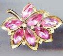 SALE Pink Rhinestone Flower Pin