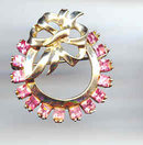 SALE Pink Rhinestone circle Pin