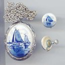 SALE Delft Locket and earrings to match