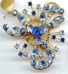SALE Spray of Blue Rhinestones Elegant