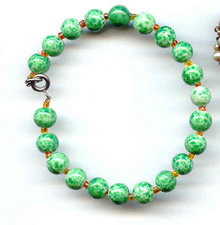 SALE Green Art Glass Bracelet