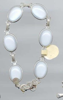 SALE Gold Filled Glass  Moon Stone Bracelet